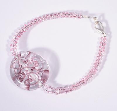 Veretes karlánc - kristály és rózsaszín - 2000 Ft