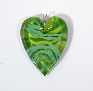 Valentin üvegmedál, zöld csikos - 2000 Ft