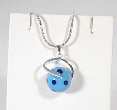 Pöttyös Panna üvegmedál, kék - 1500 Ft