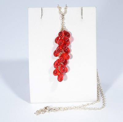 Üvegszőlő nyaklánc, piros - 1500 Ft