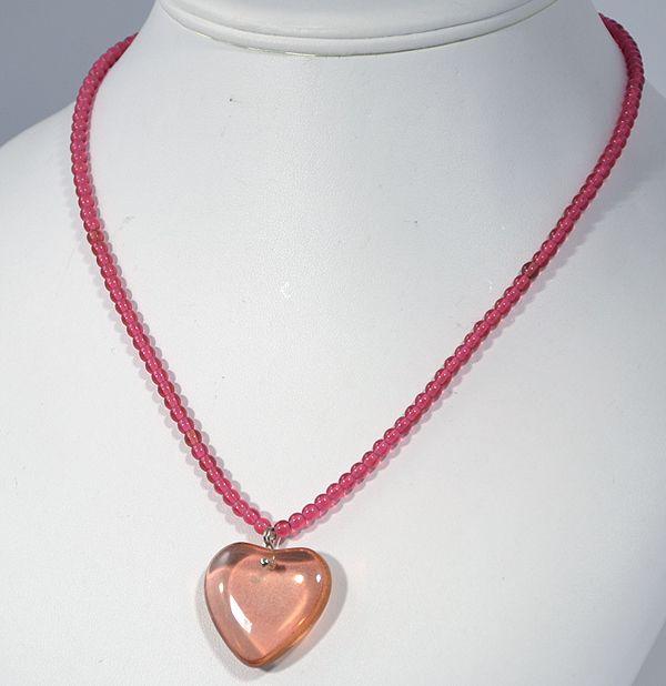 Szívecském nyaklánc, piros - 1875 Ft