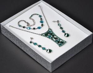 Dáma kristály ékszer szett smaragd színben