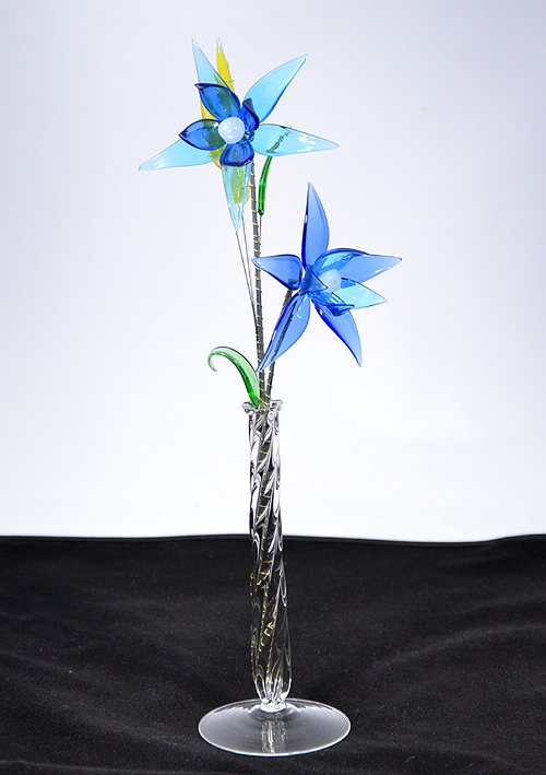 """Jégvirág"" - nagy üvegvirág vázában"