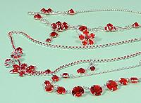 Piros kristály ékszerek